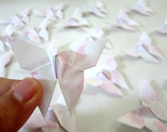 SALE 25 Pastel Pink Roses Origami Butterflies. Perfect Wedding
