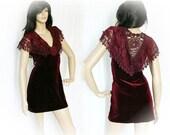 Vintage 90s Mini Dress L Burgundy Lace Velvet Ruffled