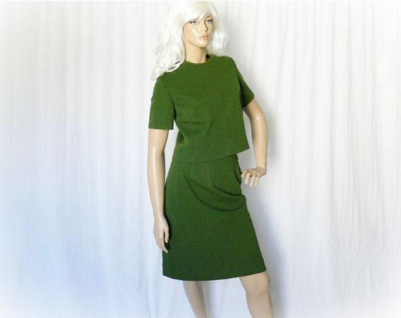 Vintage 50s 60s Dress Set L Top Skirt Office Olive Knit