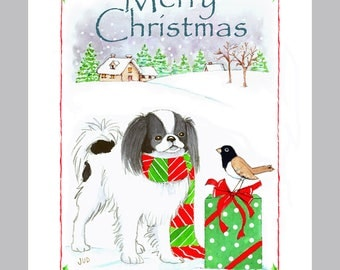 Japanese Chin Christmas cards Box of 16 Cards and Envelopes