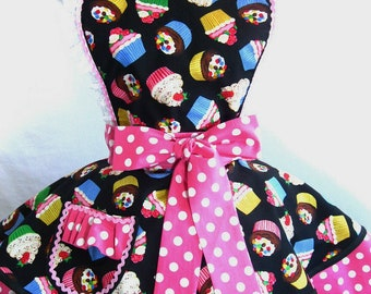 Rainbow Cupcake Apron with Pink Polka Dots