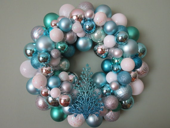 CHRISTMAS AQUA  WHITE and Silver Ornament Wreath with tree