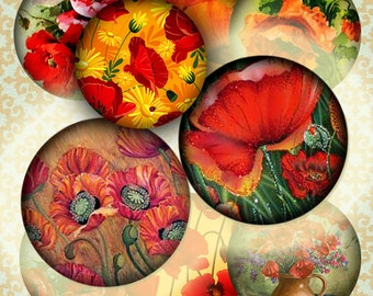 Digital Collage of Red Poppies - 117 18mm Circle JPG images