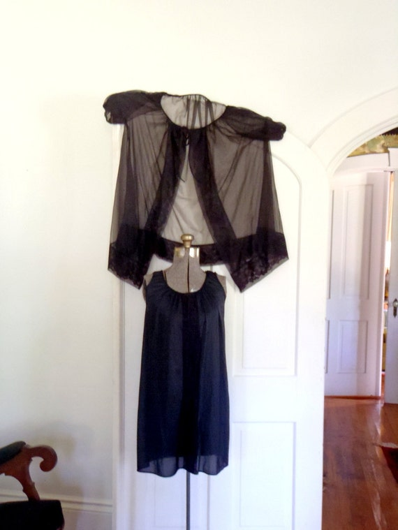 1960s Vintage Black Nylon Baby Doll Night Gown and Robe Matching Set