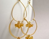 Citrine Earrings, Gemstone Cluster Double Hoop Gold Earrings, November Birthstone Earrings