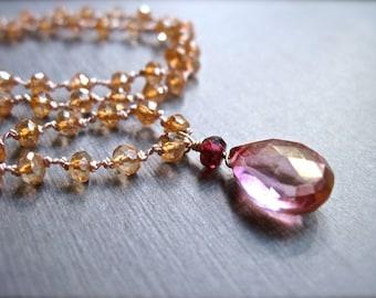 Gemstone Necklace, Pink Quartz, Garnet and Champagne Quartz Necklace, Hand Knotted Silk Cord Gemstone Necklace