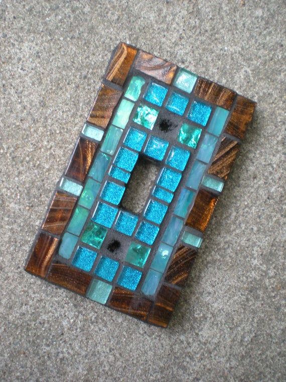 Mosaic Light Switch Cover - Bronze and Teal Stained Glass -Switch Plate