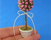 A Pink Roses Topiary for Dollhouse 1/12 Scale