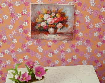 Portrait of A Vase of Flowers  - Framework Shabby Chic Art Print 12th scale for dollhouses