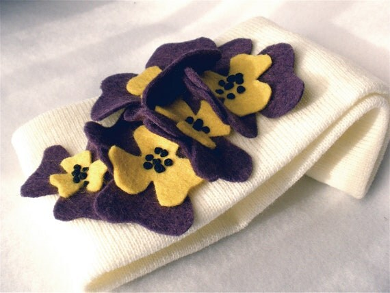 Knit Headband  Ear Warmer Ivory with Purple Pansies