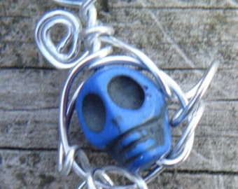 Day of the Dead Wire Wrapped Caged Carved Skull Magnesite Necklace. Blue Carved Skull Magnesite Pendant. ON SALE WAS 12.00