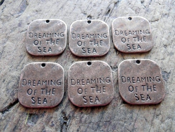 Dreaming of the Sea Charms, Set of 6, Antique Copper Finish
