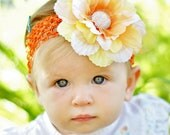 hair bow...candy corn flower hairbow...Autumn...yellow, orange, white...infant,toddler,big girl head band....flower headband
