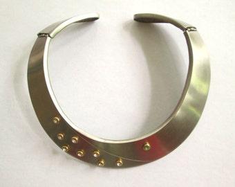 Bib Collar Necklace Cuff Rhinestone Studded Silver Vintage 1980s Modernist