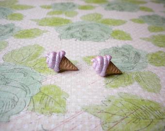 Purple Ice Cream Button Earrings, Ice Cream Jewelry, Ice Cream Earrings