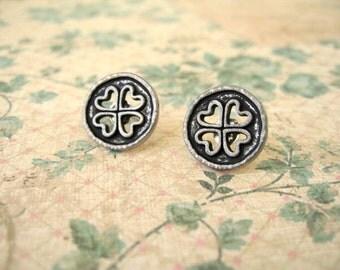 Black Sliver Tibetan Button Earrings, Black Earrings, Heart Button Post Earrings, Heart Jewelry