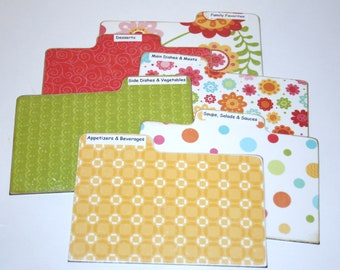 Recipe Divider Cards, Set of 6, Yellow Coral and Orange Floral Tabs, 4x6 Recipe Divider Cards, Made of Hard Laminate