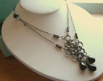 Japanese Diamond Necklace in Gunmetal and Black