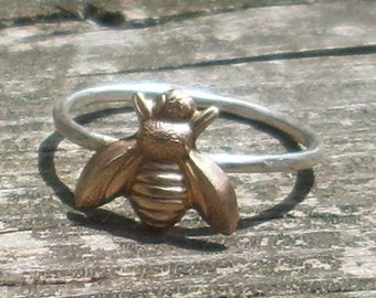 Big Bee- Sterling Silver and Brass -Stacking Ring