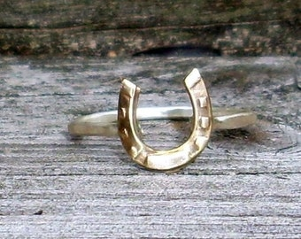 Little Horse Shoe- Sterling Silver and Brass -Stacking Ring