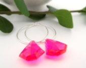 cyndi earrings - neon hot pink vintage lucite and sterling silver hoops