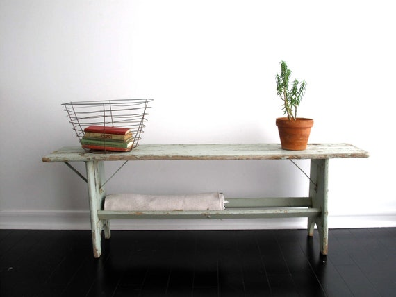 Rustic Wood Bench - Entry Bench, Industrial Furniture, Sofa Table, Distressed Furniture, French Cottage, Mint