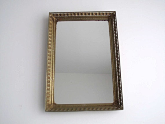 Vintage Wall Mirror with a Gold Frame - Mirror Tray, Vanity Mirror