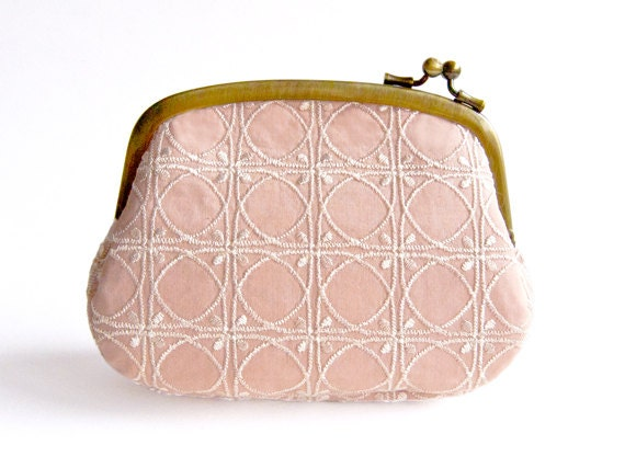 Embroidered Shell Pink Pouch