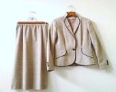 Vintage 2 piece jacket skirt suit womens plaid size 4 petite two pieces set Bert Newman Gorgeous