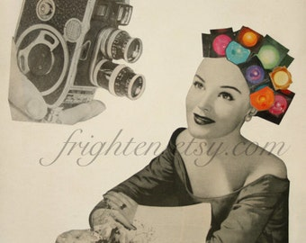 Retro Art, Paper Collage Print, Vintage Camera Decor, Photographer Gift