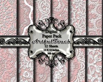 "Digital Paper - 12 Digital Scrapbook Paper Pack (12"" X 12"" - 300 DPI) - Pink Lace Background, Scrapbooking - INSTANT DOWNLOAD"