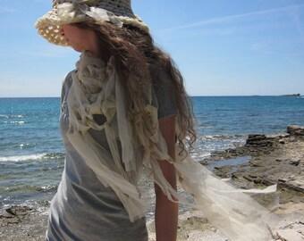 Hand knit fringe triangular shawl in ecru, cream elastic tulle for spring summer