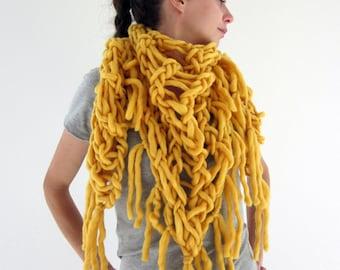 Mammoth hand knit fringe triangular shawl in mustard, yellow