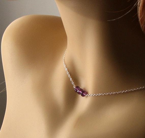 Amethyst Necklace, Sterling Silver Gemstone Jewellery, February Birthstone