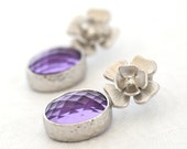 Amethyst, Royal Purple, Violet, Purple Earrings, Lavender, Dangle, Silver Earrings, Cubic Zirconia, Flowers Earrings by Simply Sleek
