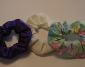 Scrunchie set of three purple cream butterflies