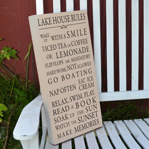 Lake House Rules painted wood sign