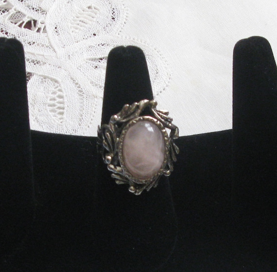 ring Repurposed one of a kind  vintage rose quartz oxidized silvertone ring ooak