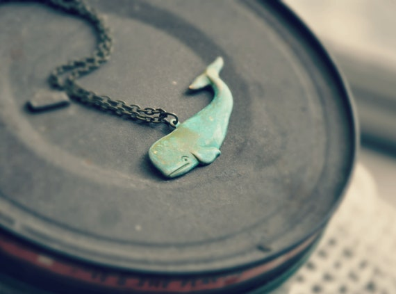 patina whale necklace.