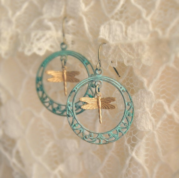 dragonfly hoop earrings.