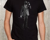 Business Man with Gas Mask, Briefcase and Binoculars - Men's T-Shirt - Available in Men's S, M, L, XL and 2XL