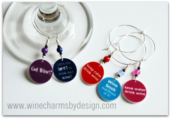 Connoisseur & Wine Snob Wine Glass Charms (Set of 5)