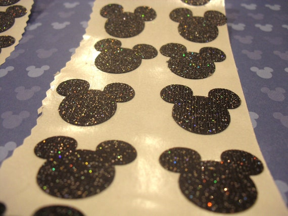MICKEY MOUSE GLITTER Sticker Seals Set Of Red Black Pink - Custom glitter stickers