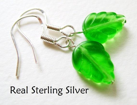 REAL SILVER Spring Green Elm Leaf Czech Pressed Glass Bead Earrings