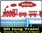 Personalized Choo Choo Train wall decal for baby boys nursery - 3ft long vinyl boys wall decor