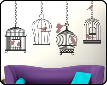 Bird Cage Wall Sticker, Hanging Bird Cage, Bird Wall Decal, Living Room Wall Decor, Bird stickers, Bedroom Wall Decal, Bird Cage Stickers