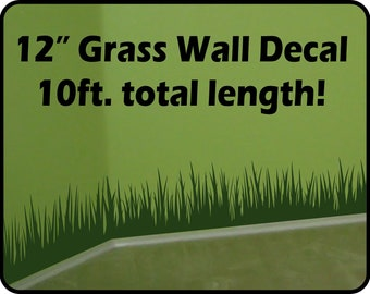 Grass Wall Decal border (12 in tall x 10 ft long) - removable vinyl wall border - nursery wall border