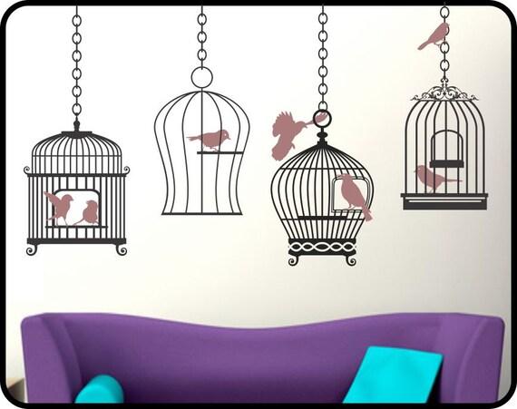 Hanging BIRD CAGES Wall Decal Sticker - decorative vinyl decor wall art