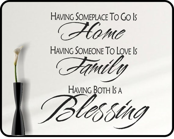 Inspirational Quotes About Family: Inspirational Family Wall Decal Quote Family Blessing Home