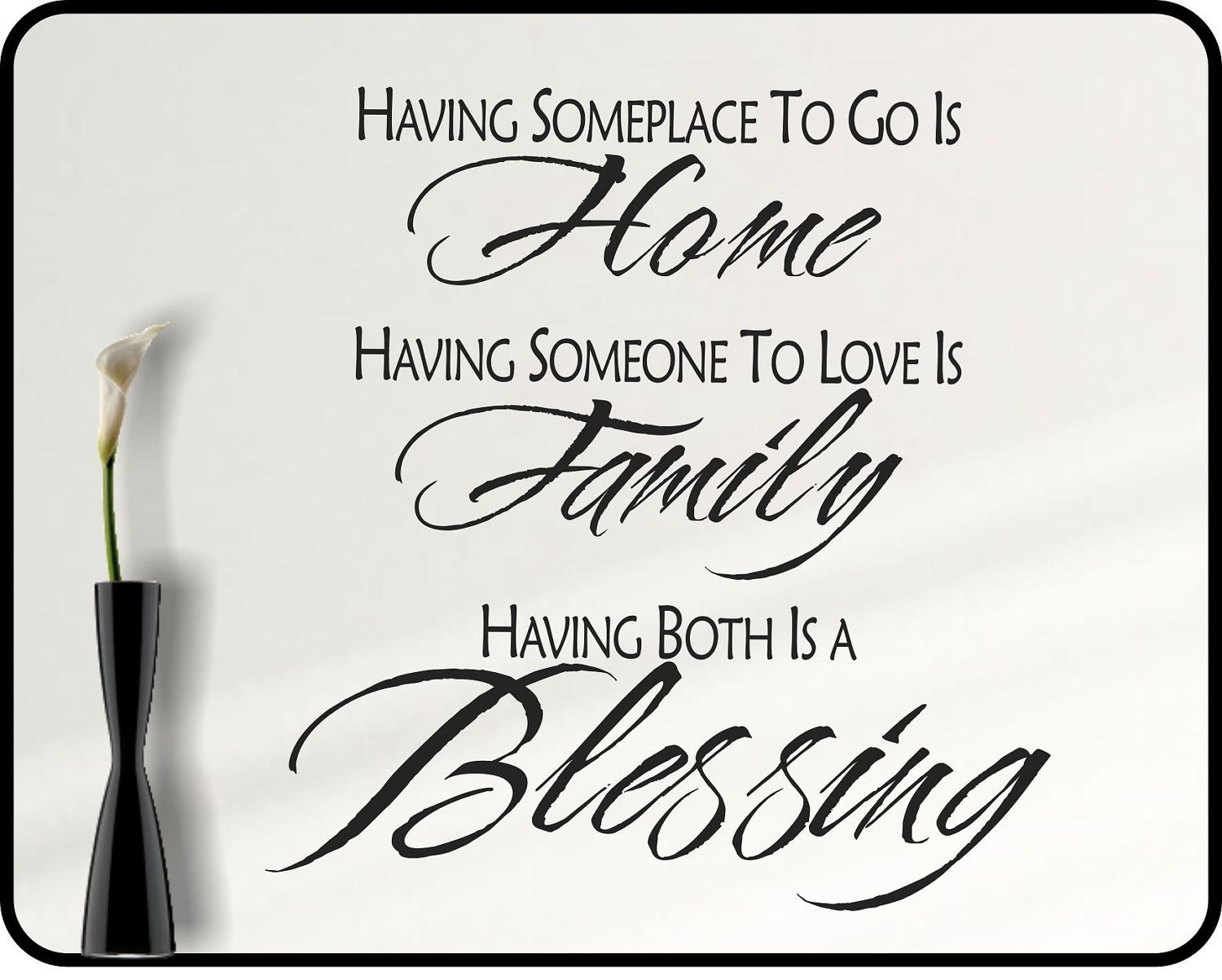 Inspirational Family Wall Decal Quote Family Blessing Home